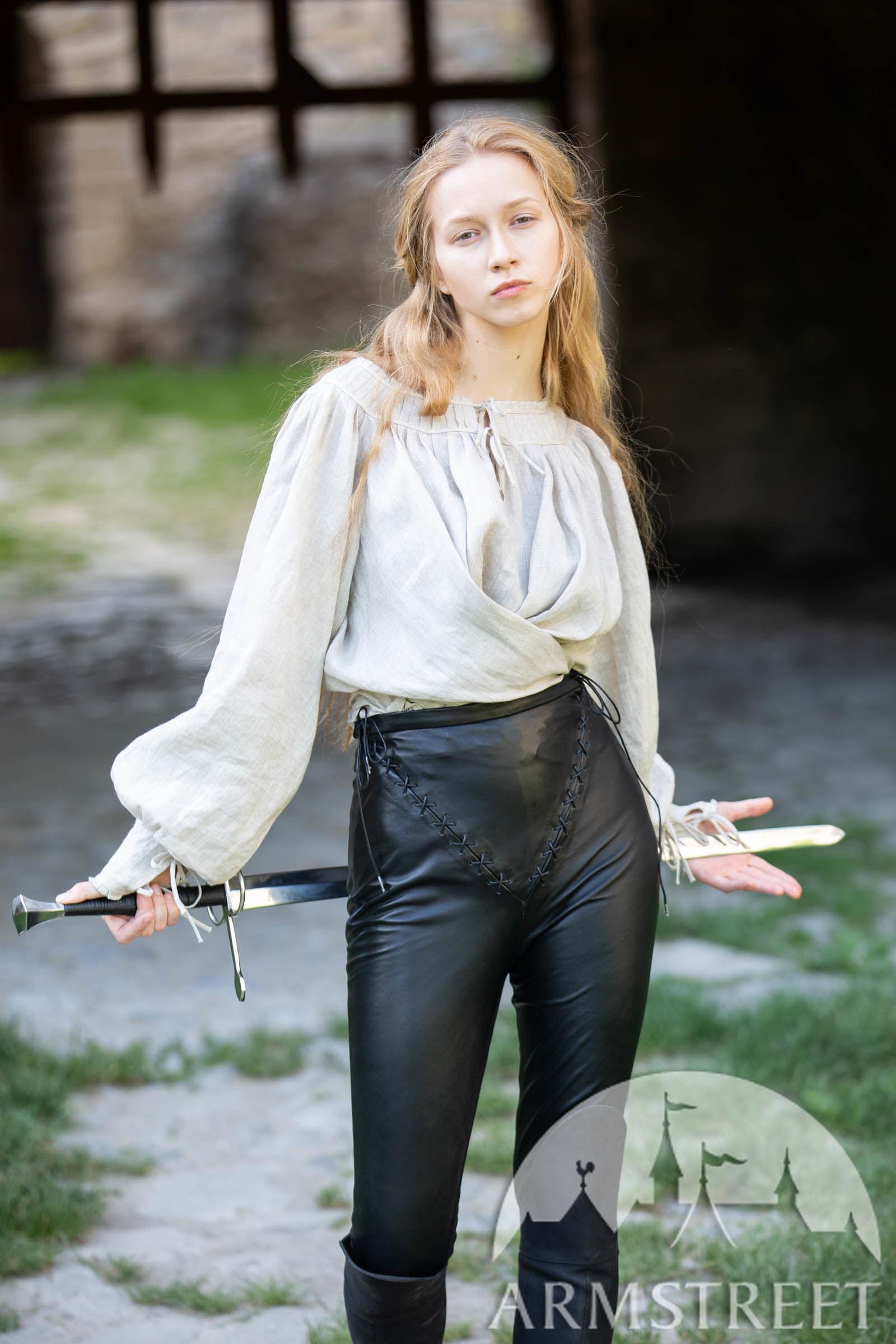 Kurzes Mittelalter Leinenhemd für Damen