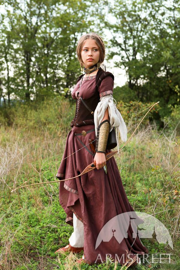 """Mittelalter Kleid aus Leinen """"Bogenschützin"""" mit Tunika und Mieder"""