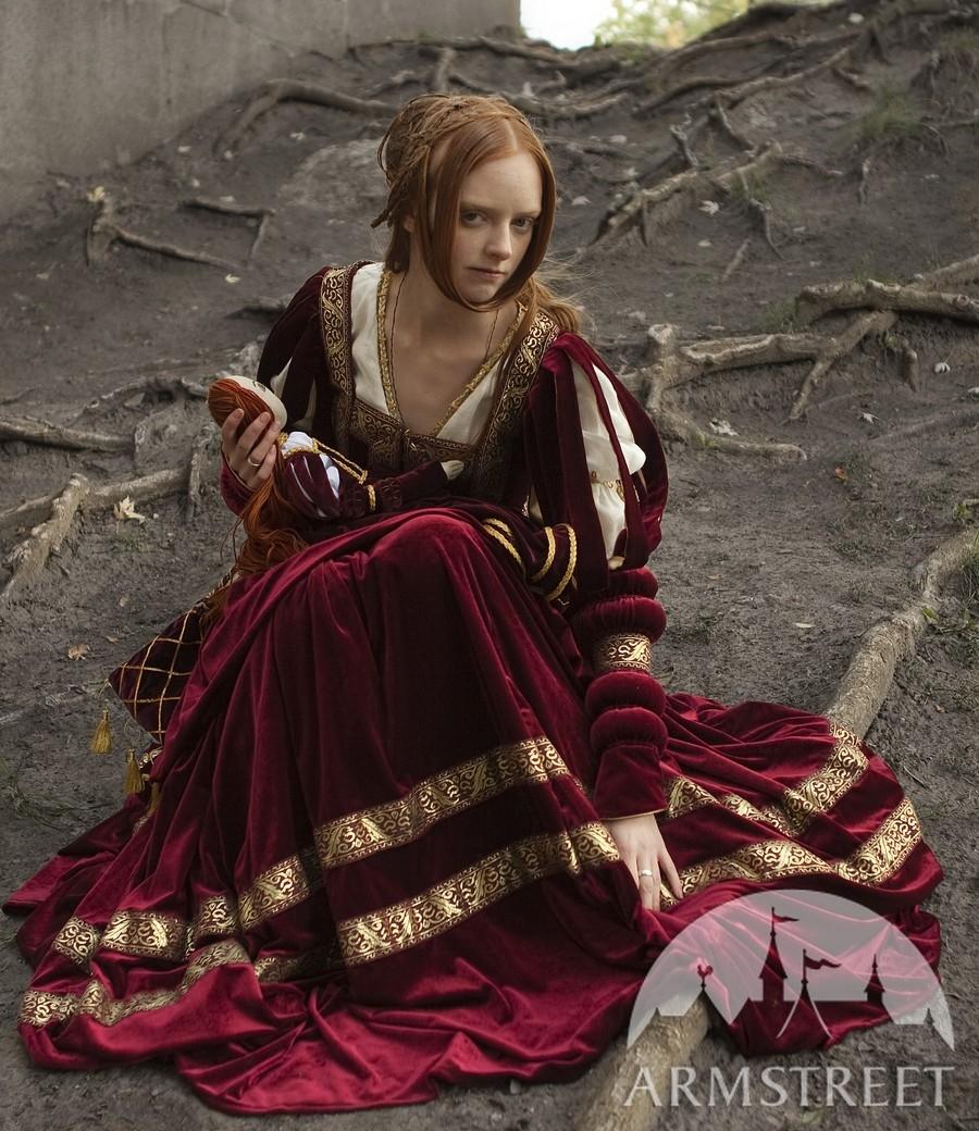 Renaissance Medieval 2017 Wedding Dresses A Line Burgundy: Renaissance Kleid Herzoginne Kaufen. Vorhanden In